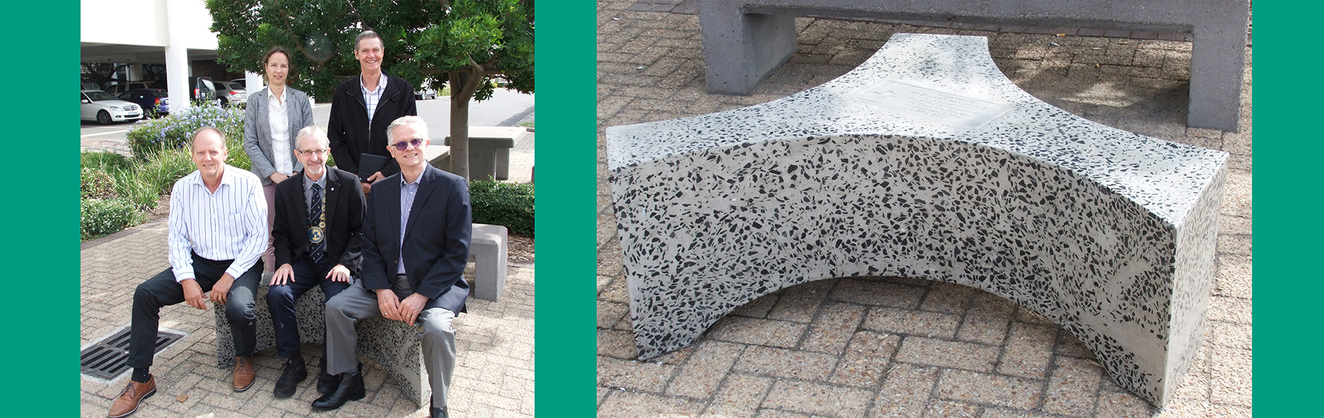 Donation of concrete seat commemorates and celebrates longstanding, solid relationship